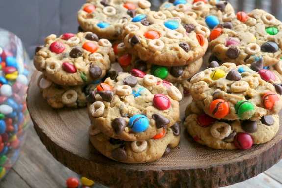Soft Baked Cheerio Monster Cookies