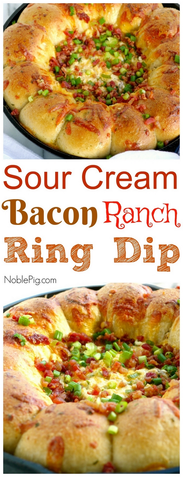 If you are looking for that perfectly addictive appetizer, this Sour Cream Bacon Ranch Ring Dip is going to have you enjoying every last bite. Surrounded by frozen, yeast dinner rolls that easily bake to perfection, this is a dip you are going to make again and again from NoblePig.com. via @cmpollak1