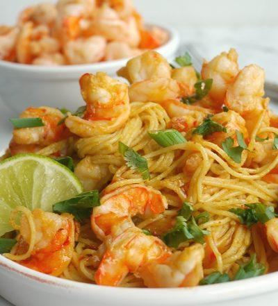 Spicy Thai Shrimp Pasta + VIDEO