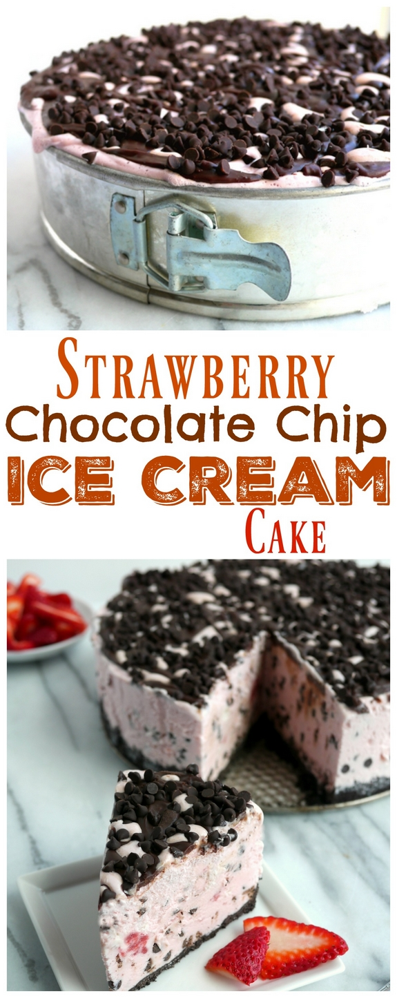 Video + Recipe: The Best Strawberry Chocolate Chip Ice Cream Cake Recipe from NoblePig.com. An easy frozen dessert perfect for any celebration. This recipe also has a video tutorial. #noblepig #frozen #frozenparty #strawberry #icecreamcake #icecream via @cmpollak1