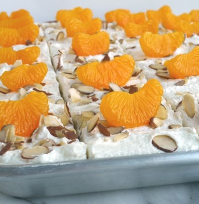 Mandarin Orange Sheet Cake with Whipped Cream Frosting + VIDEO