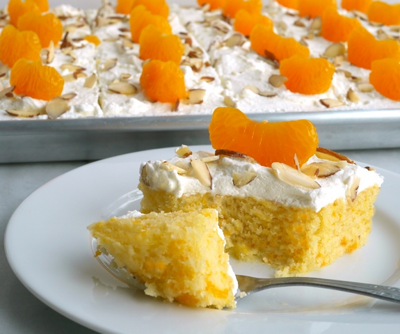 Mandarin Orange Sheet Cake with Whipped Cream Frosting