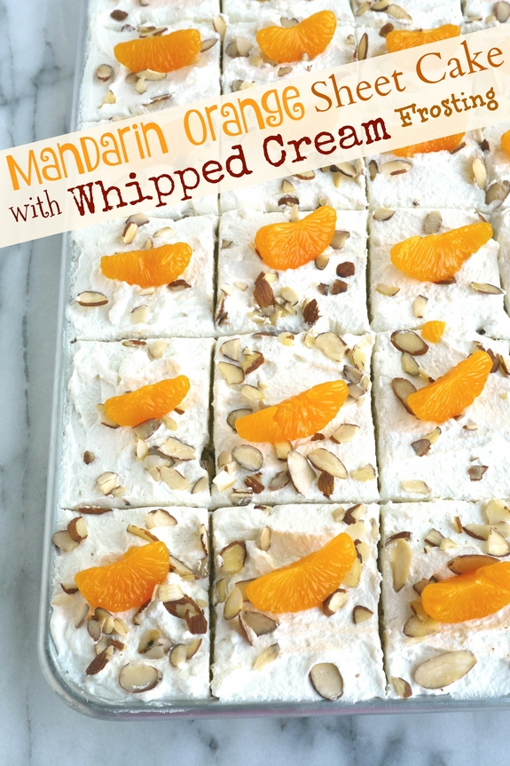 VIDEO + RECIPE: This Mandarin Orange Sheet Cake with Whipped Cream Frosting has the most delicious and satisfying texture you'll ever want to experience in a cake from NoblePig.com. #noblepig #cake #mandarinorange #sheetcake