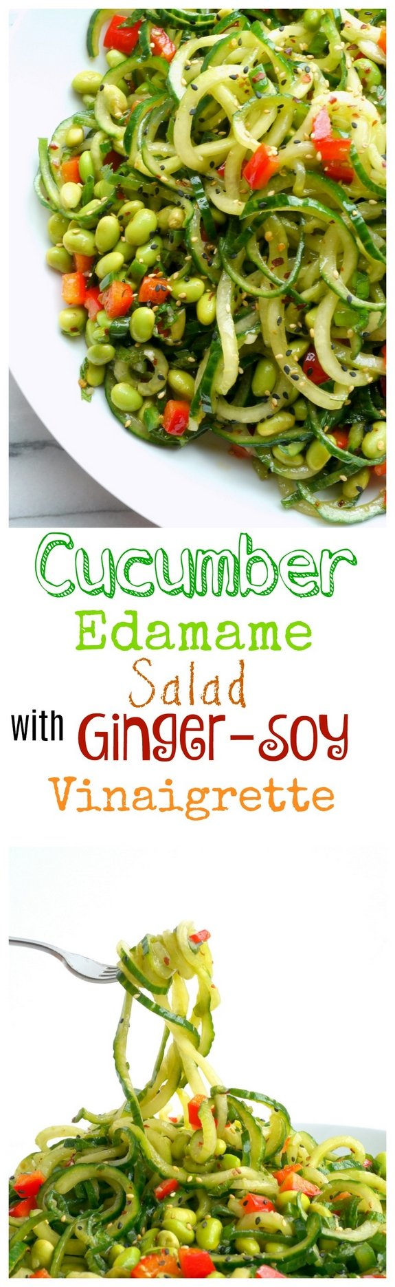 Cucumber Edamame Salad with Ginger-Soy Vinaigrette in text and two photos of the salad itself.