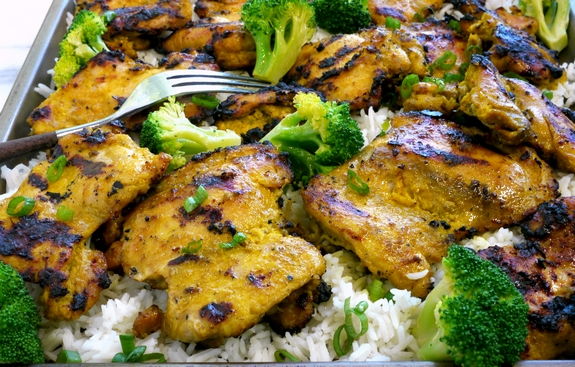 grilled curried yogurt chicken thighs. Black Bedroom Furniture Sets. Home Design Ideas