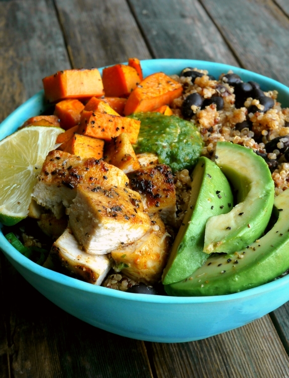 Chicken, Sweet Potato and Quinoa Bowls with Tomatillo Drizzle