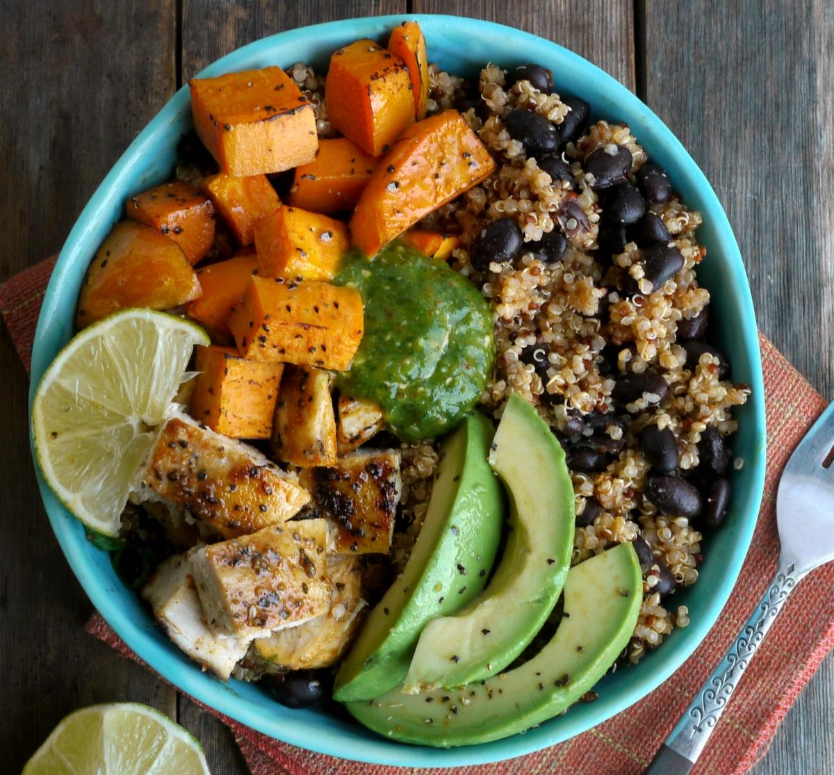 Mediterranean Chicken Quinoa Bowl Recipe: Chicken, Sweet Potato And Quinoa Bowls With Tomatillo Drizzle