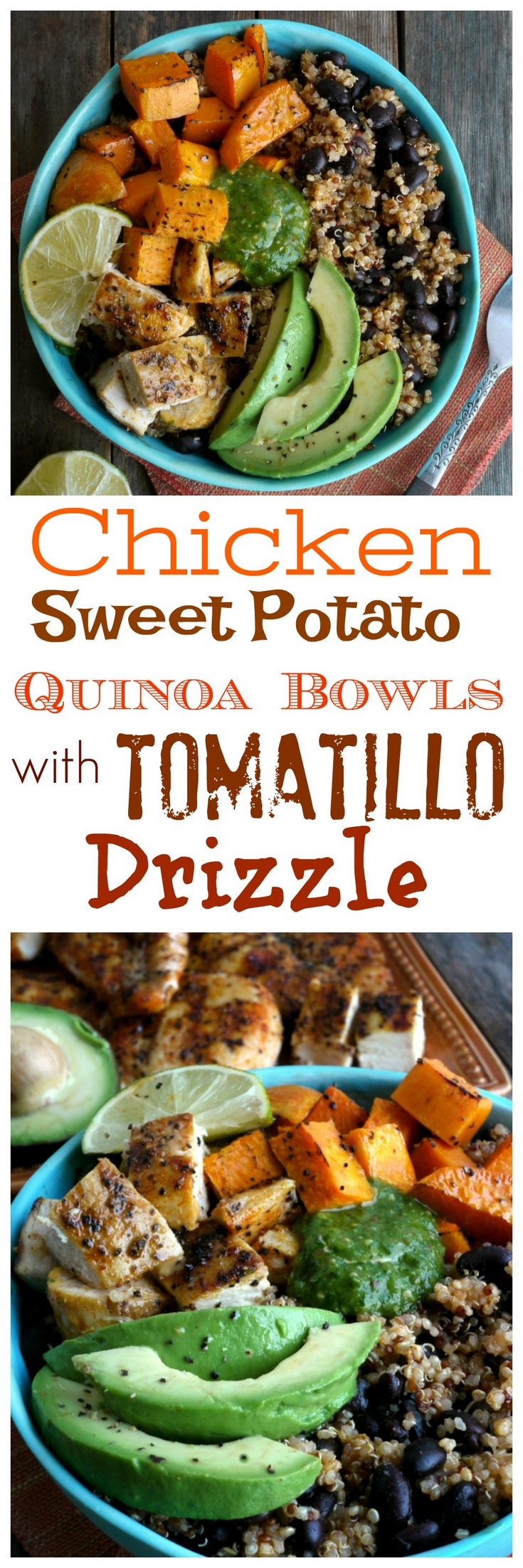 Healthy and delicious, this Chicken, Sweet Potato and Quinoa Bowl with Roasted Tomatillo Drizzle is perfect for lunch and dinner from NoblePig.com. via @cmpollak1