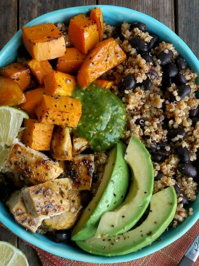 Chicken, Sweet Potato and Quinoa Bowls with Tomatillo Drizzle