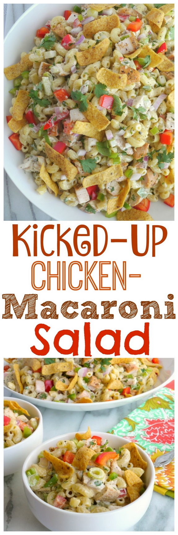 Kicked-Up Chicken-Macaroni Salad in text with overhead views of the salad in various bowls.