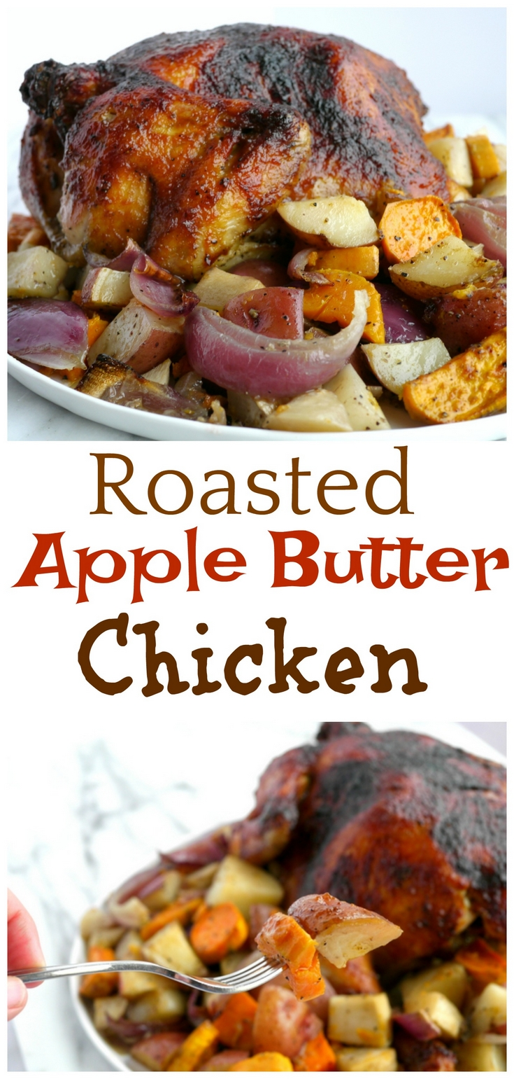 It's so easy to make this delicious Roasted Apple Butter Chicken at home. This crispy crust chicken on top of a bed of veggies is comfort food you can't resist from NoblePig.com. via @cmpollak1