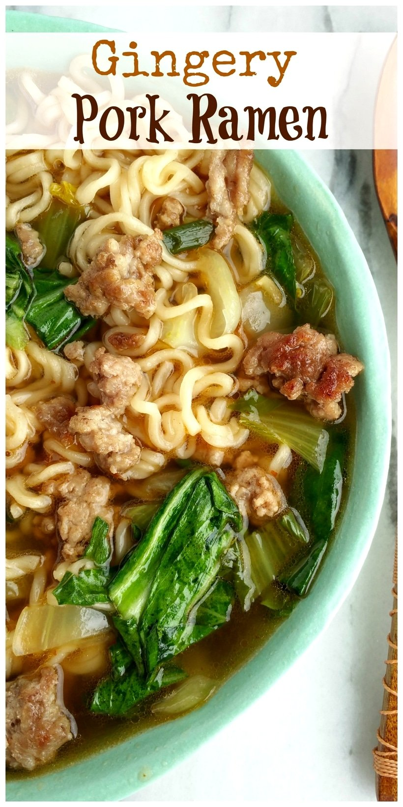 A life-changing Gingery Pork Ramen recipe because honestly, it's going to rock your world. The ground pork turns this ramen into a hearty meal with a pop of flavor you've never quite tasted before. This pork ramen is one of the first meals my son requests when he returns home from college because it's that good, not to mention so easy to make. via @cmpollak1