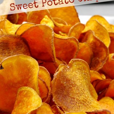 Text overlay that reads the best homemade sweet potato chips with sweet potato chips on a tray.