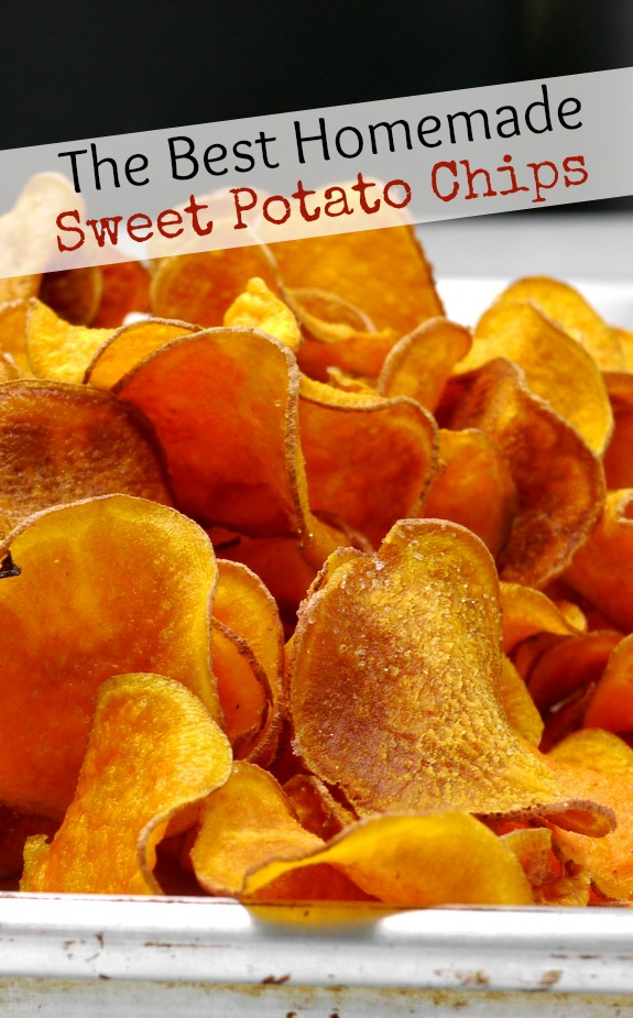 Text overlay that reads The Best Homemade Sweet Potato Chips with sweet potato chips on a baking tray.