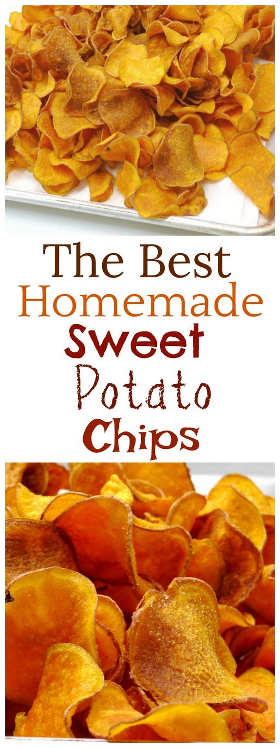 Text overlay that reads The Best Homemade Sweet Potato Chips with two photos of homemade sweet potato chips.