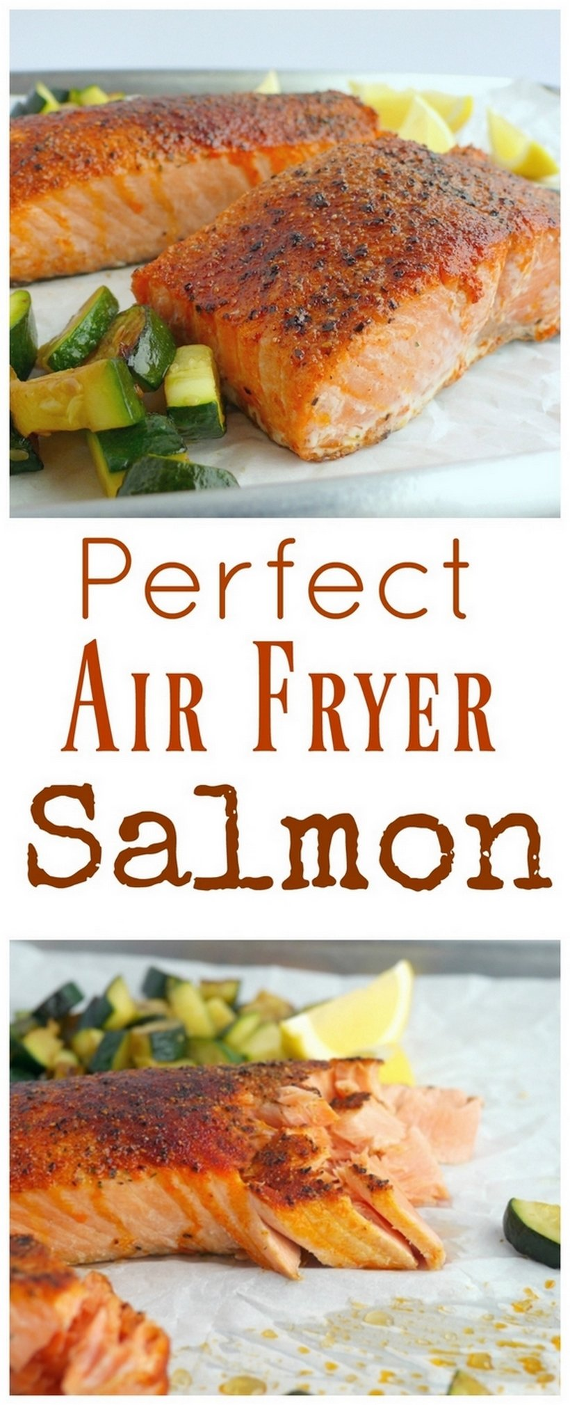 Pieces of cooked salmon with the words perfect air fryer salmon written on the image.