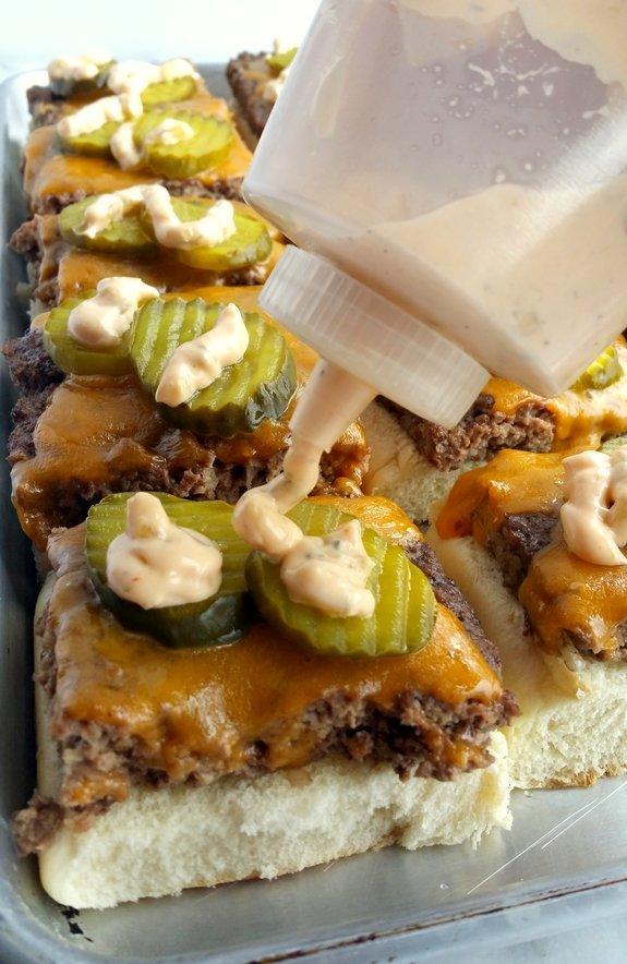 Sheet Pan Sliders with Copykat Big Mac Sauce