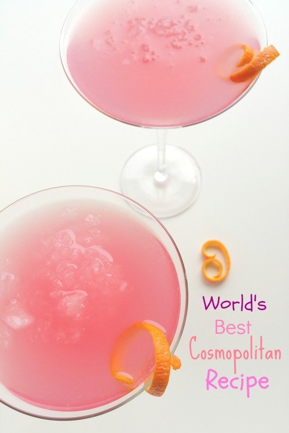 Overhead shot of two of the World's Best Cosmopolitan Cocktails.