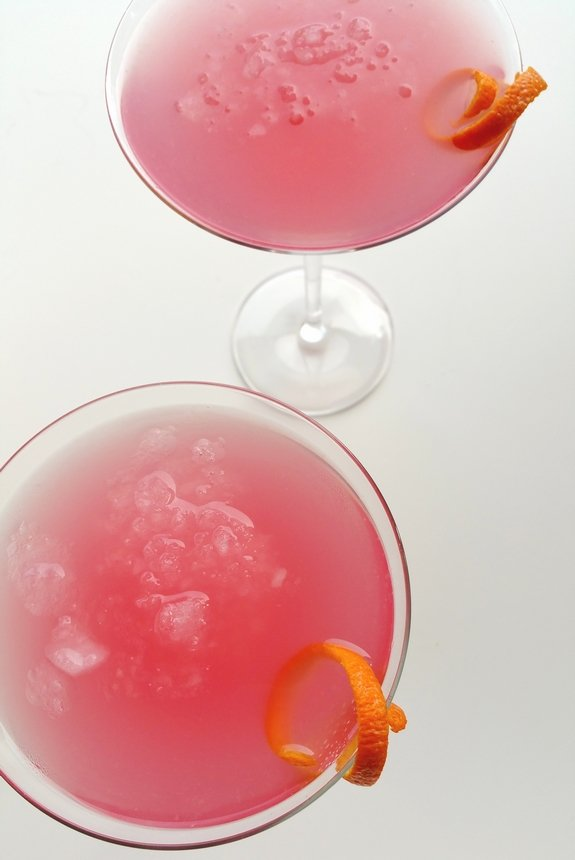 Overhead look at two of the World's Best Cosmopolitan Cocktails.