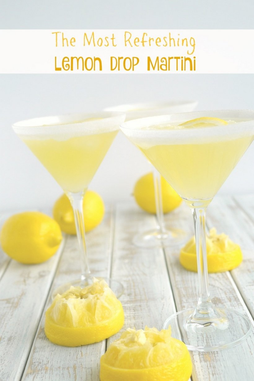 The perfect lemon drop martini should be refreshingly tart, not cloyingly sweet. Lucky for you this is The Most Refreshing Lemon Drop Martini! Give it a try soon from NoblePig.com. #lemondrop #martini