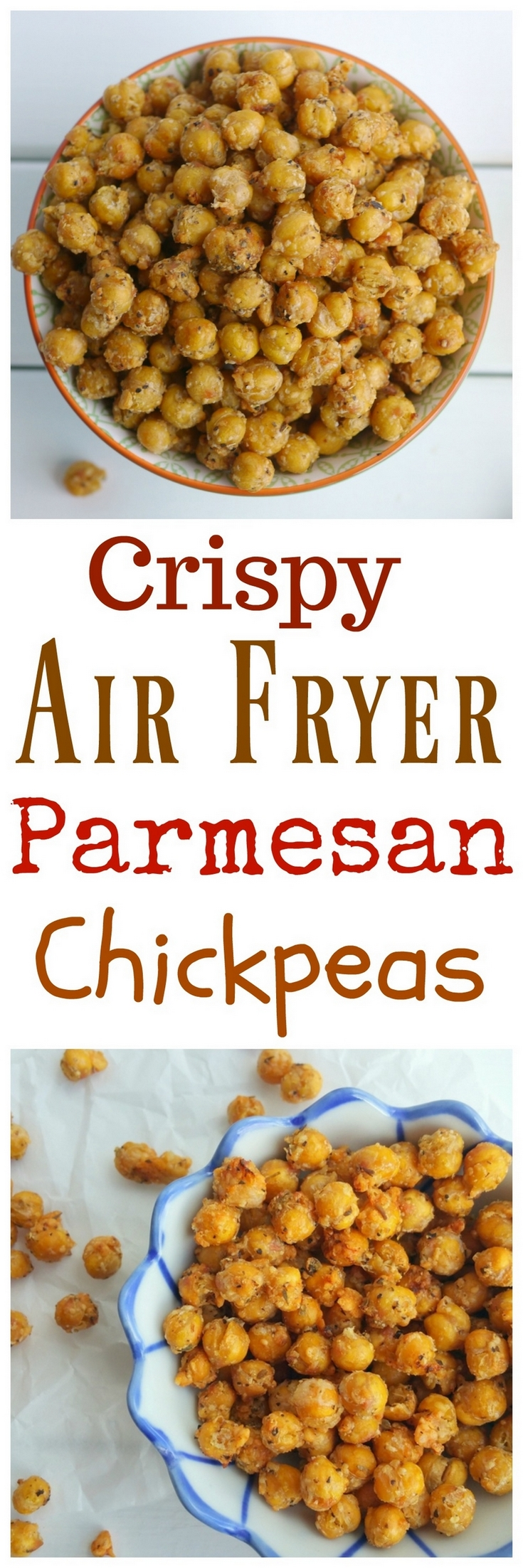 Crunchy on the outside and creamy on the inside, these Crispy Air Fryer Parmesan Chickpeas are the perfect snack on their own, or toss them on top of salads or into a snack mix. Making chickpeas in the air fryer is a quick and easy way to achieve the perfect crispness from NoblePig.com. #airfryer #chickpeas #glutenfree #plantbased via @cmpollak1