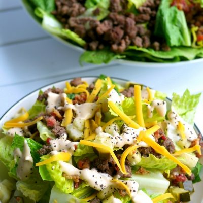 If you are trying to cut sugar out of your diet, this Low Carb Bacon Cheeseburger Salad Recipe is the perfect meal for you. Who needs the bun anyway? You'll be surprised how much this flavorful salad mimics your favorite burger. A gluten-free, keto-friendly meal that makes a healthy lunch or dinner.
