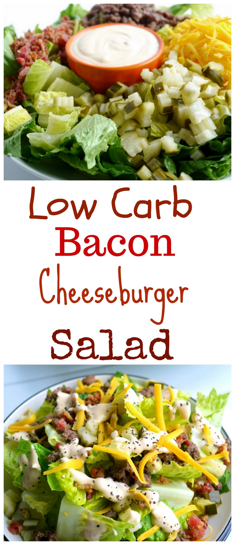 If you are trying to cut sugar out of your diet, this Low Carb Bacon Cheeseburger Salad Recipe is the perfect meal for you. Who needs the bun anyway? You'll be surprised how much this flavorful salad mimics your favorite burger. A gluten-free, keto-friendly meal that makes a healthy lunch or dinner from NoblePig.com. #noblepig #salad #keto #lowcarb #glutenfree #cheeseburger #healthyeats