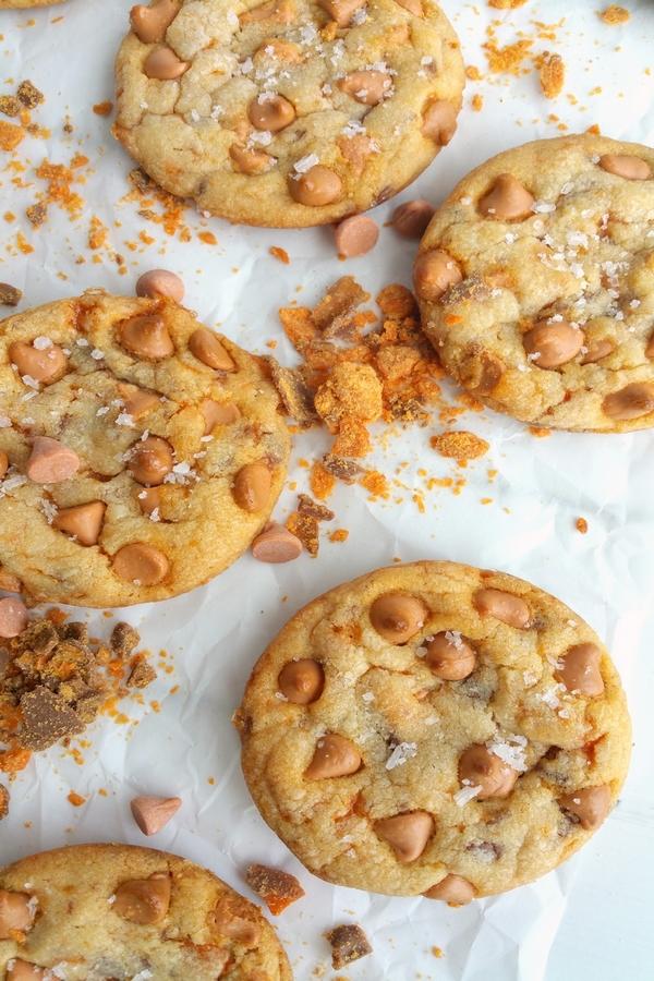Soft Baked Butterscotch-Butterfinger Cookies