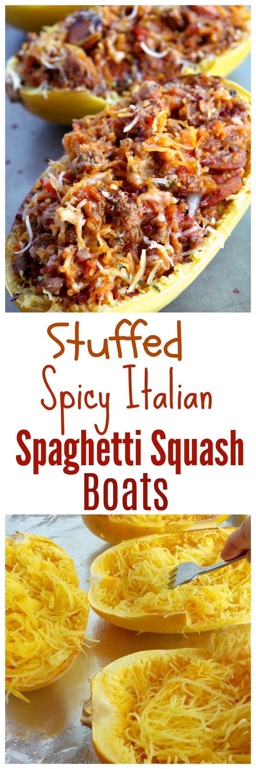 Stuffed Spicy Italian Spaghetti Squash Boats ~ All the flavors of a hearty spaghetti dinner packed into a tender, roasted spaghetti squash. This Stuffed Spicy Italian Spaghetti Squash Boats recipe are the answer to comfort food made in a healthy way.  A fork is all it takes to separate the pale orange strands of the gourd into vegetable noodles. It couldn't be easier from NoblePig.com. #noblepig #spaghettisquash #italianfood #healthyeats