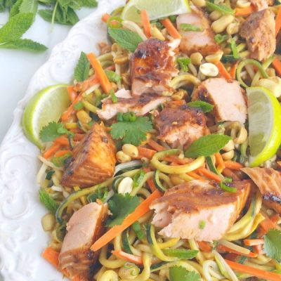 Salmon and Zucchini Noodles with Spicy Peanut Sauce