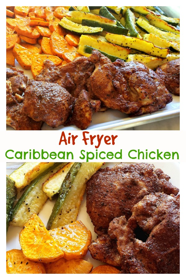 Every bite of this Air Fryer Caribbean Spiced Chicken is juicy, luscious and a testimony to the fragrant spices, flair and exotic flavors of the Caribbean. As usual, the air fryer locks in the juiciness and creates the perfect chicken every time. #noblepig #airfryer #airfryerrecipes #caribbeanrecipes #caribbean #chicken #airfryerchicken via @cmpollak1