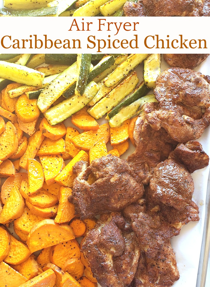 Every bite of this Air Fryer Caribbean Spiced Chicken is juicy, luscious and a testimony to the fragrant spices, flair and exotic flavors of the Caribbean. As usual, the air fryer locks in the juiciness and creates the perfect chicken every time. #noblepig #airfryer #airfryerrecipes #caribbeanrecipes #caribbean #chicken #airfryerchicken