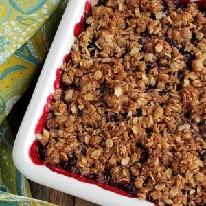 Blackberry Crumble in a serving dish.