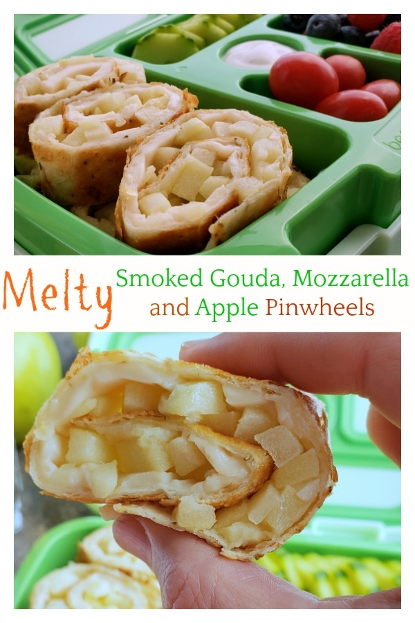 Fill that new lunchbox with these delicious Melty Smoked Gouda, Mozzarella and Apple Pinwheels. You will have a hard time believing this luscious tasting cheese is dairy-free! #noblepig #dairyfree #backtoschool #lunchbox #smokedgouda via @cmpollak1