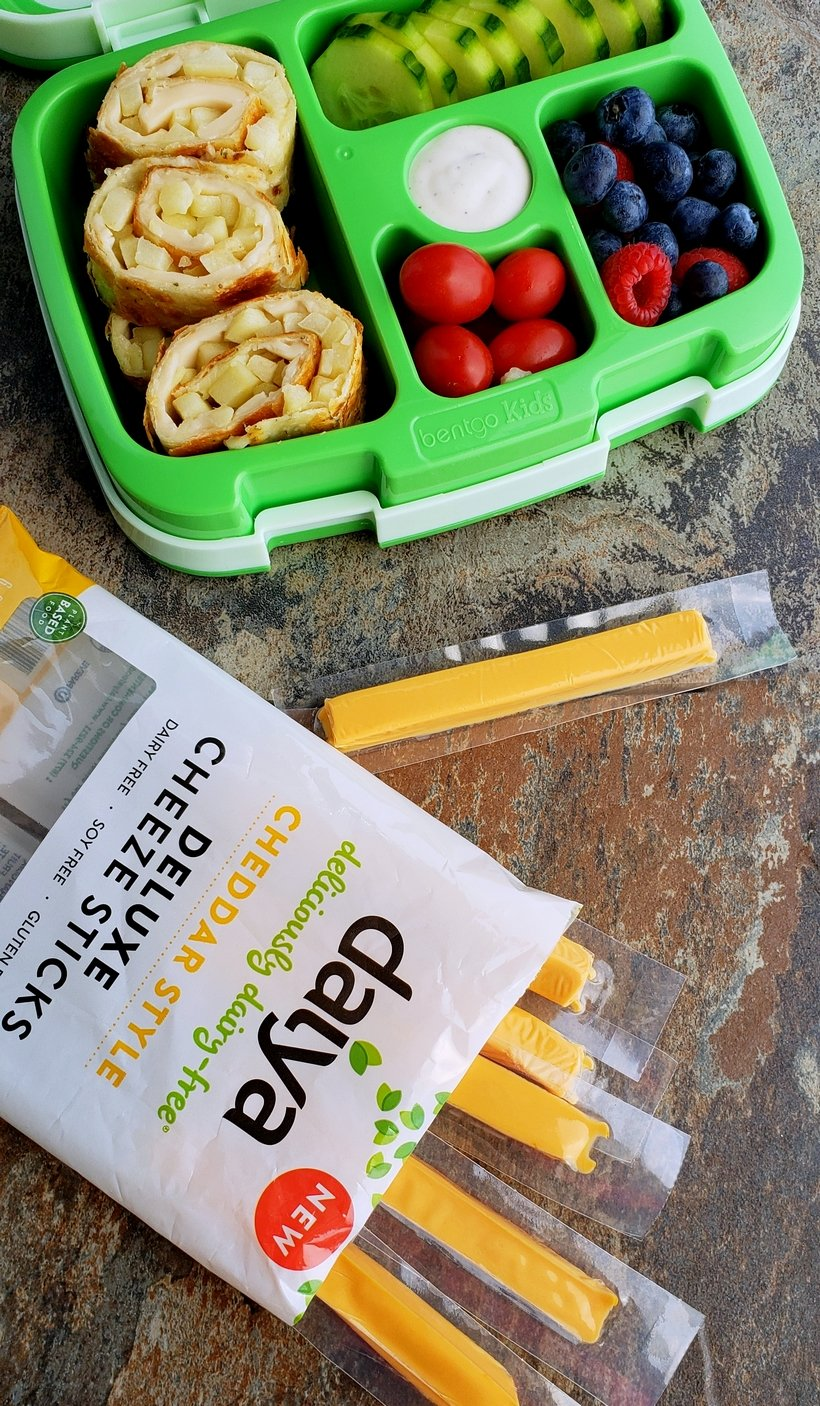 Fill that new lunchbox with these delicious Melty Smoked Gouda, Mozzarella and Apple Pinwheels. You will have a hard time believing this luscious tasting cheese is dairy-free! #noblepig #dairyfree #backtoschool #lunchbox #smokedgouda