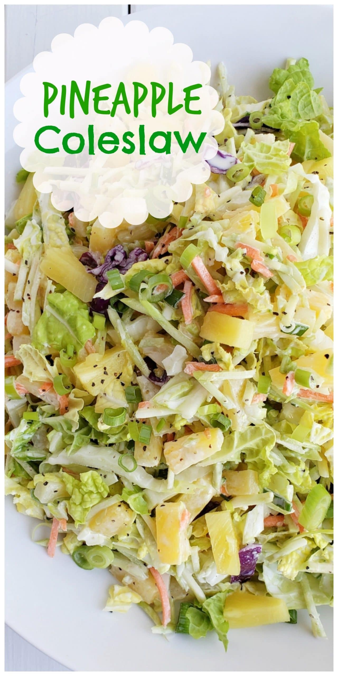 This Easy Pineapple Coleslaw is going to remind you of summer all year long. Enjoy as a side dish or top your favorite chicken burger with this one. #noblepig #coleslaw #pineapple #sidedish via @cmpollak1