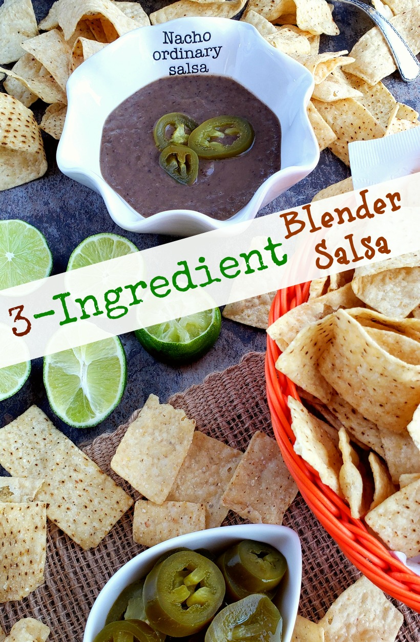 You will be obsessed with this quick and easy 3-Ingredient Blender Salsa that is packed with flavor and spicy heat. Whether you pour it over tacos or use it for chips and dip, I guarantee it will become a fast favorite. #noblepig #salsa #gameday #easyrecipes