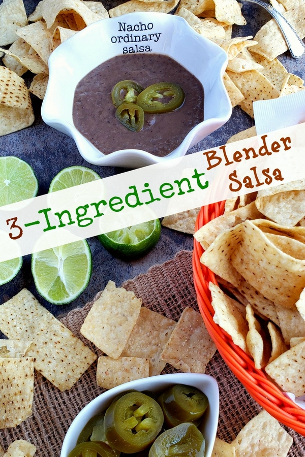 You will be obsessed with this quick and easy 3-Ingredient Blender Salsa that is packed with flavor and spicy heat. Whether you pour it over tacos or use it for chips and dip, I guarantee it will become a fast favorite. #noblepig #salsa #gameday #easyrecipes via @cmpollak1