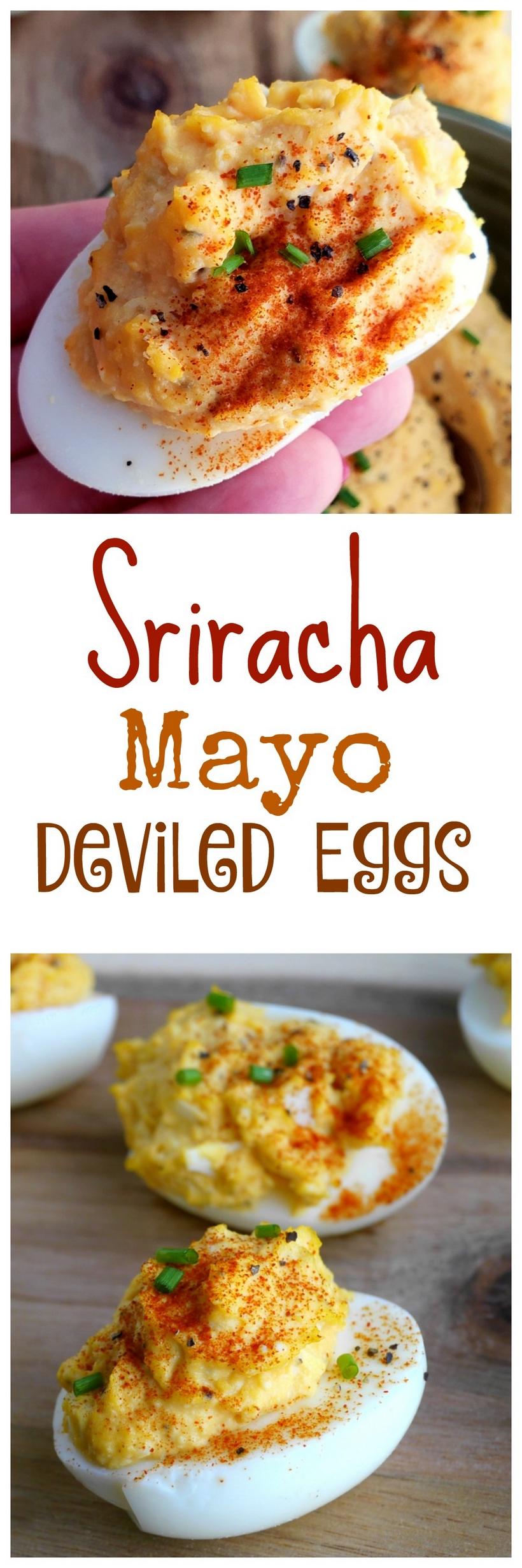 Add a little spice to the appetizer table with these Sriracha Mayo Deviled Eggs. This is a zesty, creamy and splurge-worthy treat you'll want to serve at every event! #noblepig #sriracha #eggs #devliedeggs