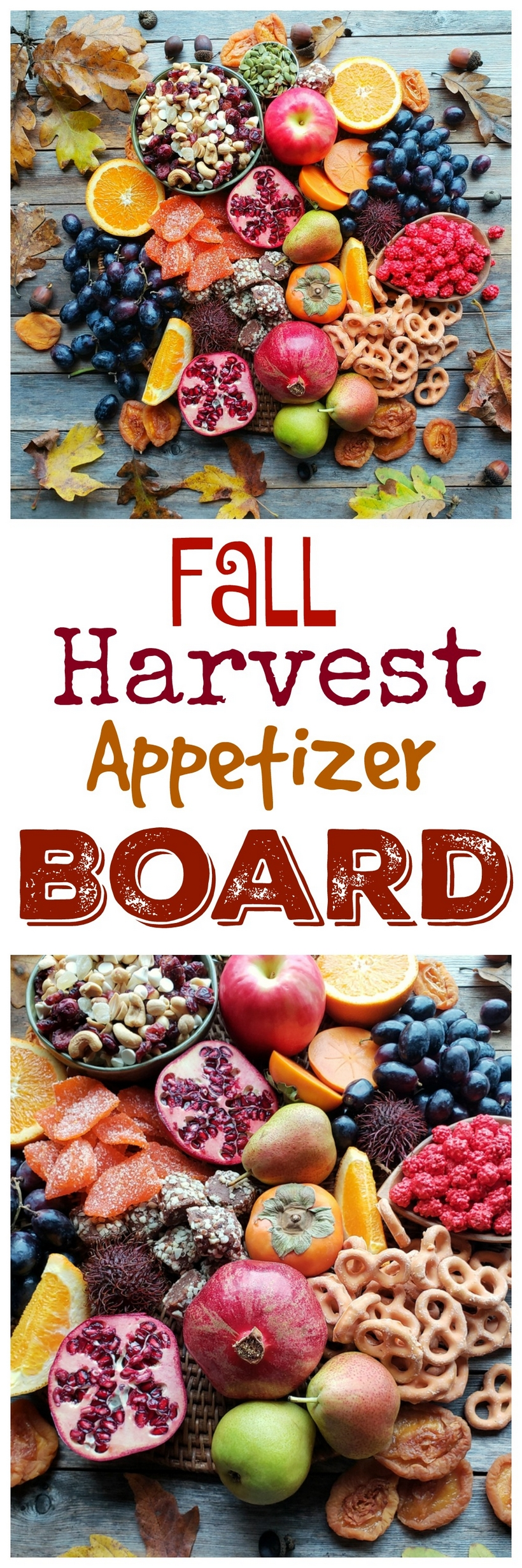 "One of my favorite entertaining ""hacks"" is putting together a big board of seasonal goodies in lieu of preparing appetizers. This Fall Harvest Appetizer Board is a guaranteed crowd-pleaser! #noblepig #appetizer #charcuterieboard"