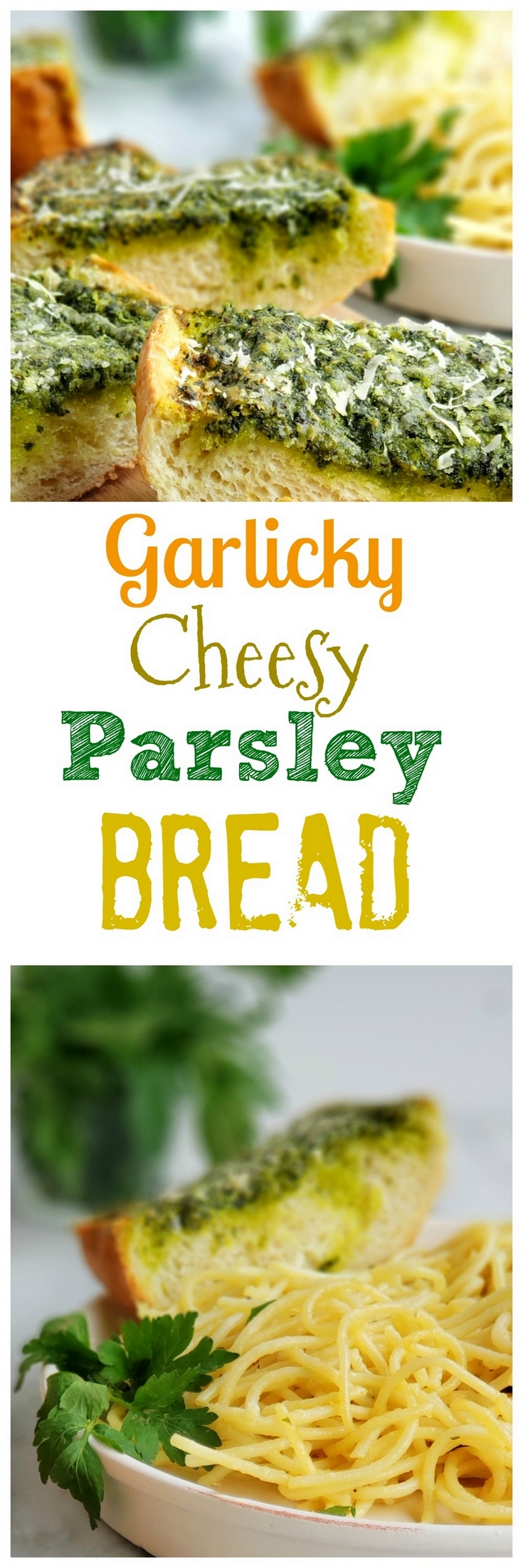 Use up your  leftover parsley with this deliciously, flavorful Garlicky, Cheesy Parsley Bread. It's the perfect side dish for a bowl of pasta. #noblepig #parsley #garlicbread via @cmpollak1