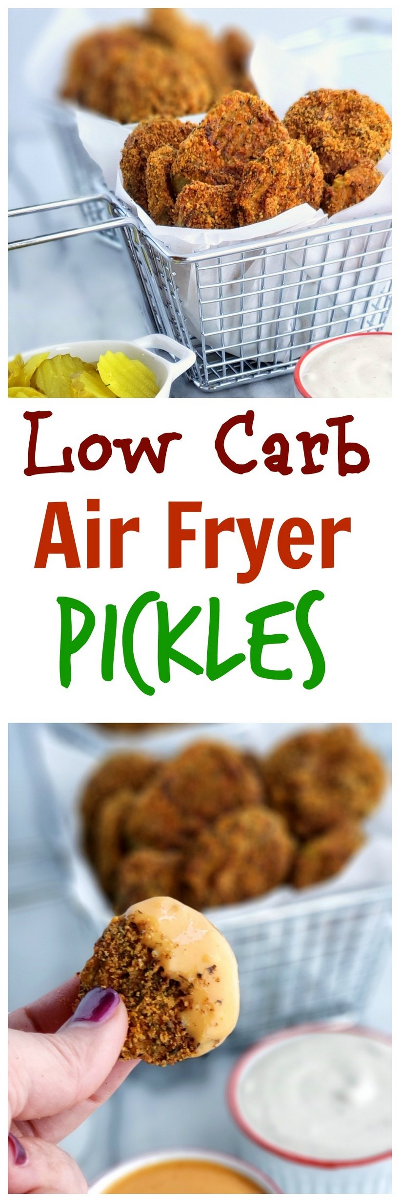 Whip up these Low Carb Air Fryer Pickles in minutes. The perfect guiltless snack for any gathering. #noblepig #lowcarb #keto