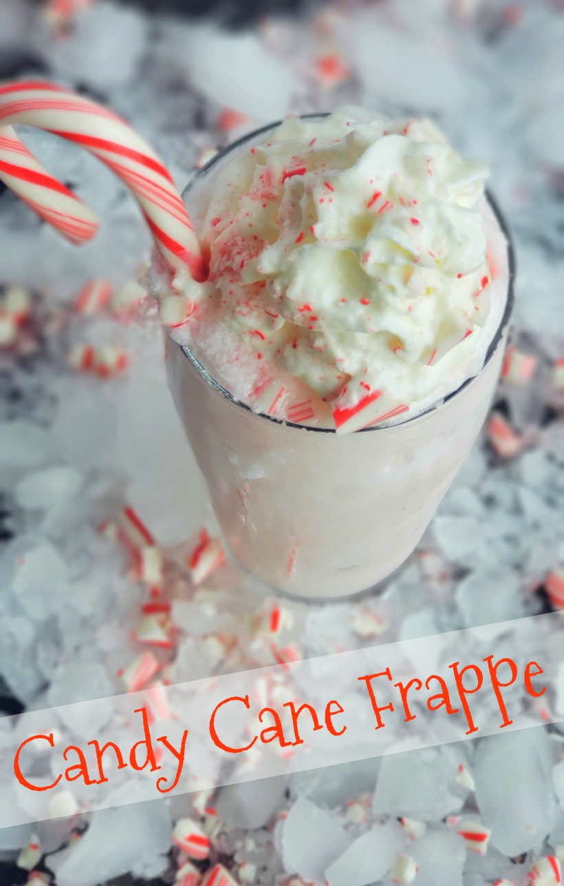 Treat yourself to a Candy Cane Frappe this holiday season or anytime you are craving a delightful peppermint flavored beverage. #noblepig #frappe #candycane