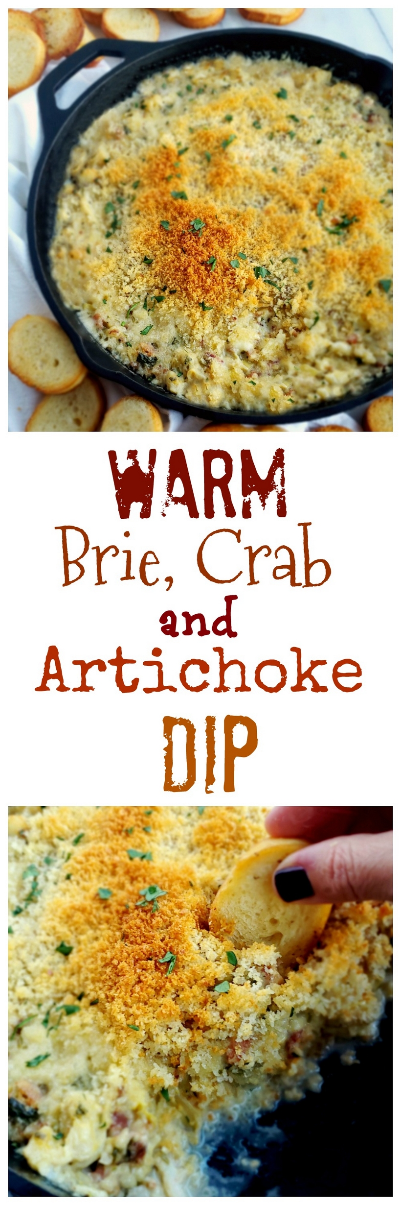 Buttery Brie cheese covered with a layer of baked bread crumbs reveals a hot dip packed with crab, artichoke and bacon. It doesn't get much better than this Warm Brie, Crab and Artichoke Dip! #noblepig #lowcarb #ketorecipe #crabdip