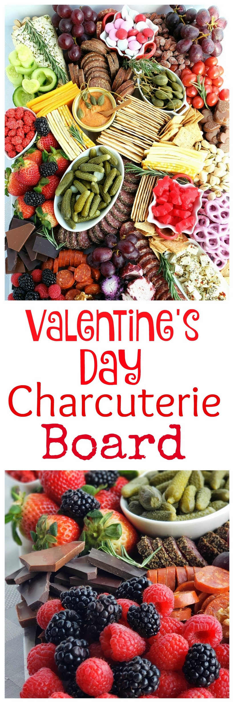 "Celebrate a decadent Valentine's Day at home with a bottle of wine and a ""love themed"", easy to make Valentine's Day Charcuterie Board. #valentinesday #charcuterie #datenight"