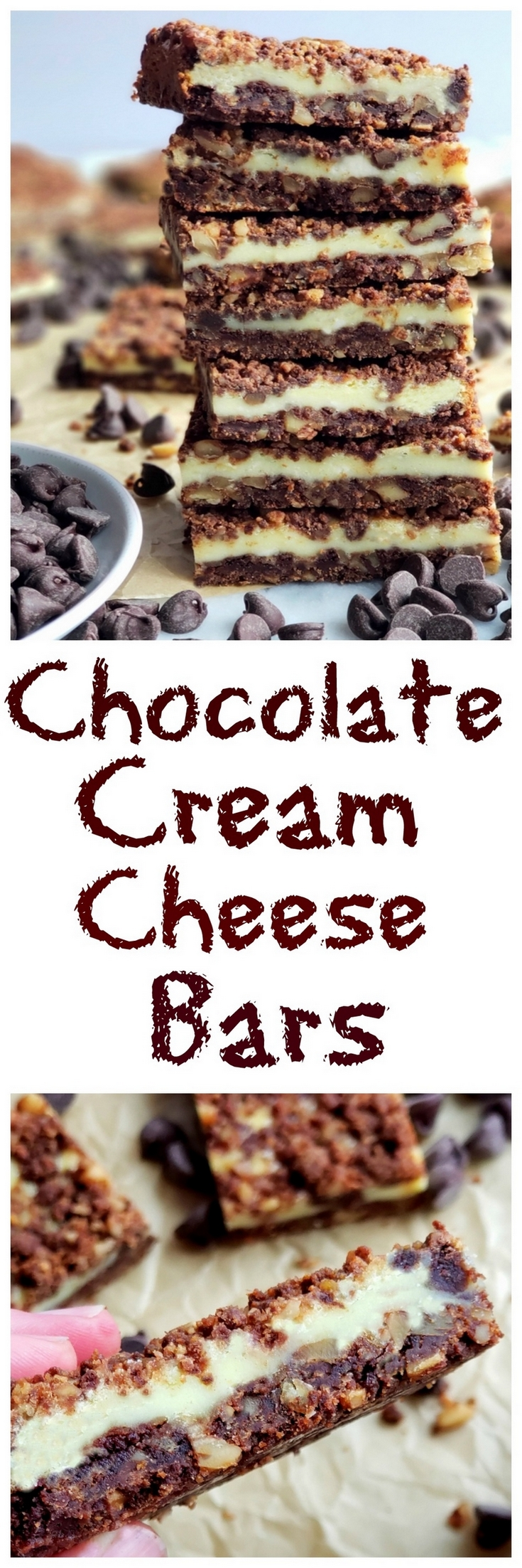 Perfect for any occasion, these Chocolate Cream Cheese Bars feature a unique chocolate graham cracker crust and topping, with a creamy middle layer. #creamcheesedessert via @cmpollak1