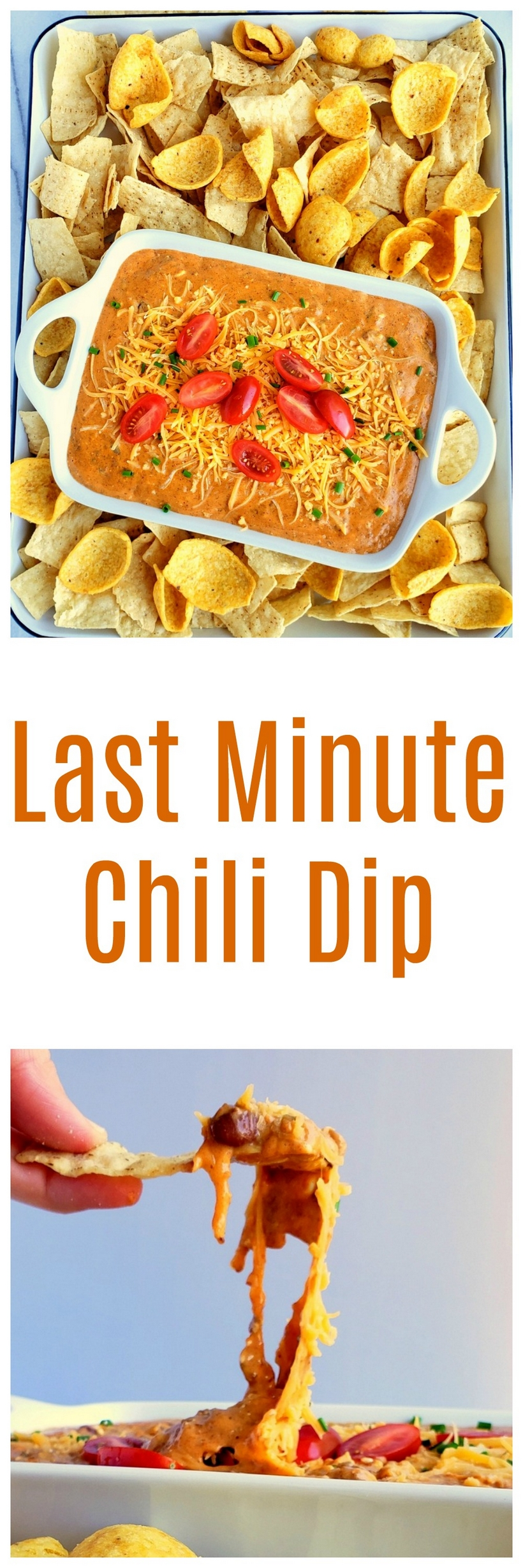 Last Minute Chili Dip is the perfect dish to make for a last-minute party invitation, drop-in company, impromptu pool parties and swarms of teenagers who might have descended on your home. via @cmpollak1