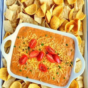 Last Minute Chili Dip on a tray with chips