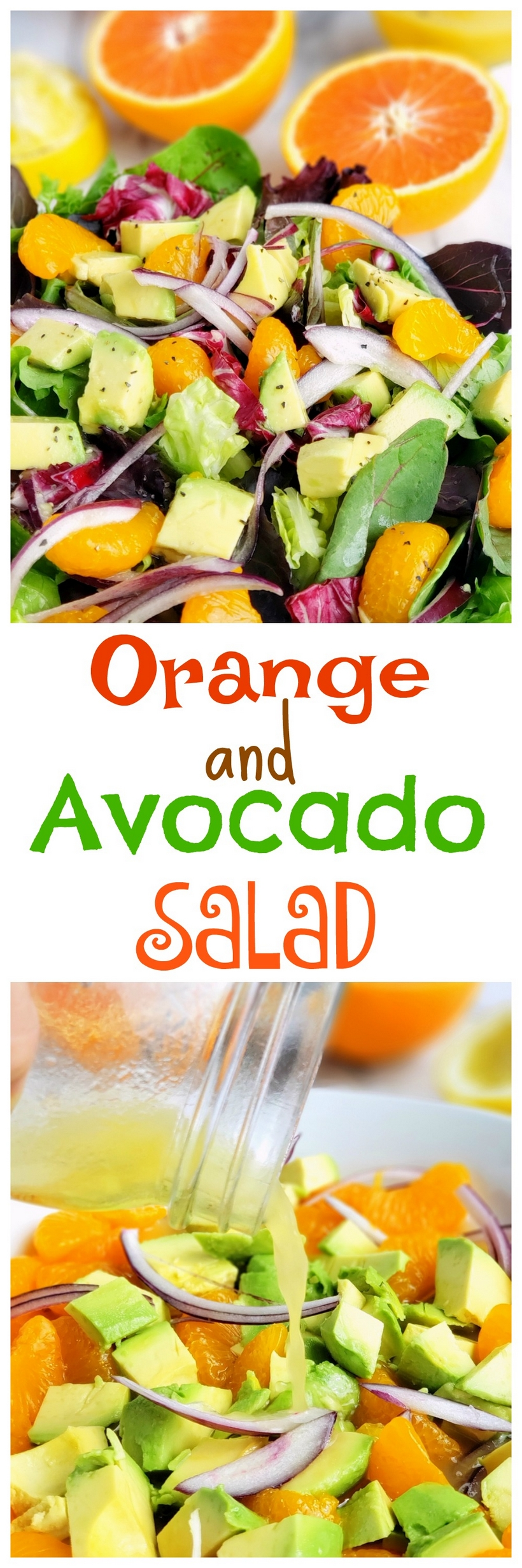 This refreshing Orange and Avocado Salad makes a colorful and flavorful lunch or dinner meal salad. I especially love this salad served as a side dish with a Mexican-inspired meal. #avocadosalad #citrussalad via @cmpollak1