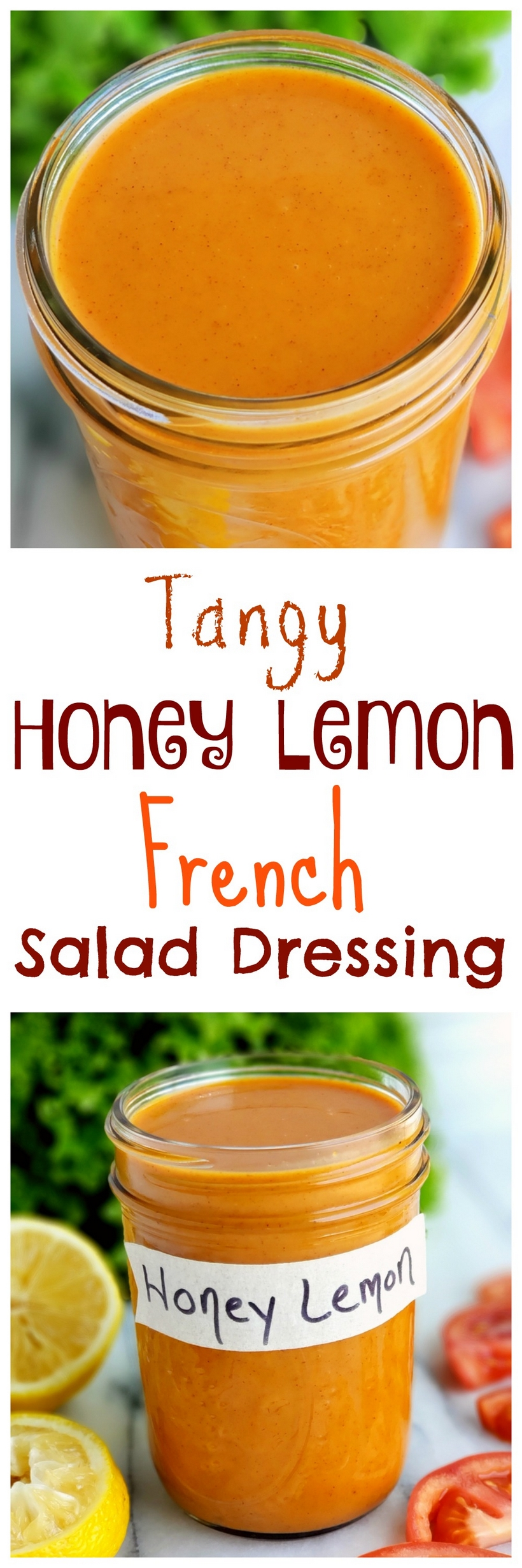 Jazz up your favorite salad with this semi-homemade Tangy Honey Lemon French Salad Dressing . This zippy salad dressing is tastebud tingling and comes together quickly with staple ingredients. via @cmpollak1